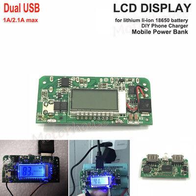 Lcd 5v Dual Usb 3.7v Lithium Li-ion 18650 Battery Charger Module Diy Power Bank