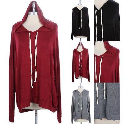 Long Sleeve 1 Pocket (Junior Plus Size- Long Sleeve Hooded Top with Kangaroo Pocket Rayon 1XL 2XL)