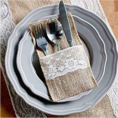 Burlap Silverware Holders (10×Natural Burlap Silverware Napkin Holders Cutlery Holders Pouch Flatware)