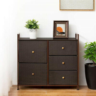 Entryway 5 Drawer Fabric Dresser Storage Chest Organizer Unit Large Capacity New