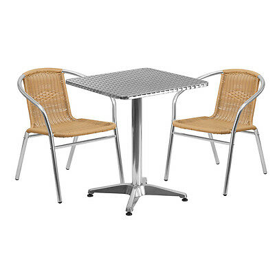 23.5square Aluminum Indoor-outdoor Restaurant Table With 2 Beige Rattan Chairs