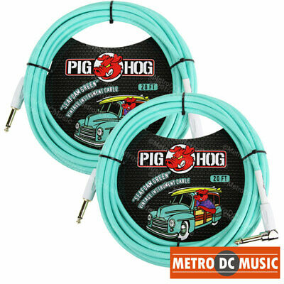 """5-Pack Gig Tuff 18/"""" right-angle 1//4 patch cable tweed 8mmOD low-capacitance gold"""