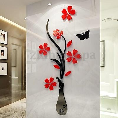 3D Mirror Flower Decal Wall Sticker DIY Removable Art Mural Home Room Decor US