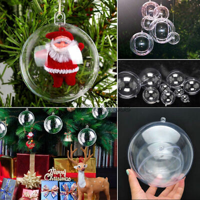 New Plastic Clear Ball Christmas Tree Pendant Decor Open Bauble Ornaments DIY US ()