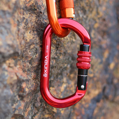 25KN Aluminum Oval-Shape Carabiner Screw Locking Clip for Cl