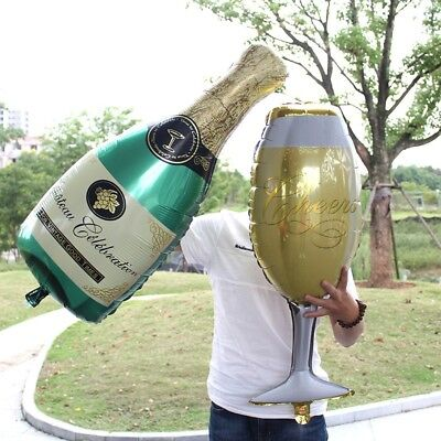 Champagne Bottle Glass Foil Balloons Happy Birthday & Wedding Party Decor HQ