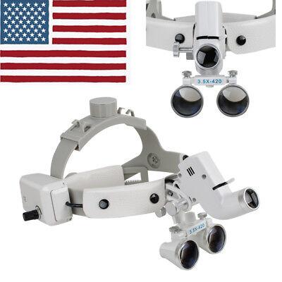 3.5x Dental Loupes Surgical Binocular Glass Magnifier Led Headlight Headband Usa
