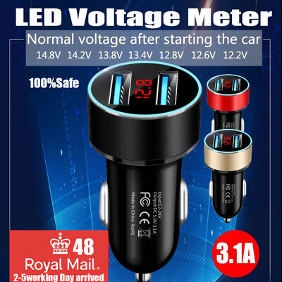 Fast Dual USB Car Charger LED Voltmeter Display Universal Mobile Phone Socket