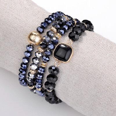 4 Strand Stretch Bracelet (4 Strand Nature Square Stone Stretch Bracelet Multi Color Beads Bangle For)