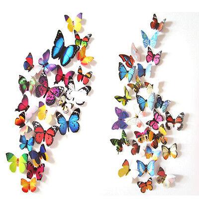 24 Stück 3D Schmetterling Kunst-Abziehbild-Wand-Aufkleber/Magnetisch Wohnkultur ()