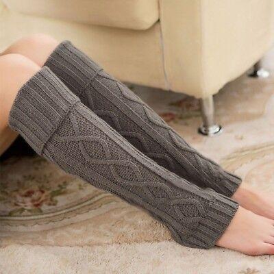 US Women Crochet Knitted Soft Elastic Boot Cover Long Leg Warmers Socks Leggings Crochet Leg Warmers
