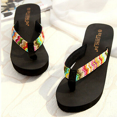 Lady Platform Sandals Beach Flat Wedge Patch Flip Flops Beach Slippers  sy