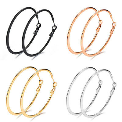 Rose Gold/Silver/Black/Gold Polish Titanium Steel Big Round Dangle Hoop Earrings