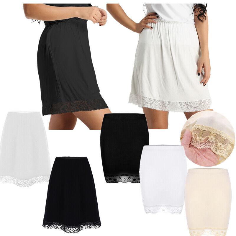 Women Summer Elastic Waist Slip Lace Long Skirt Underskirt Petticoat Extender UK