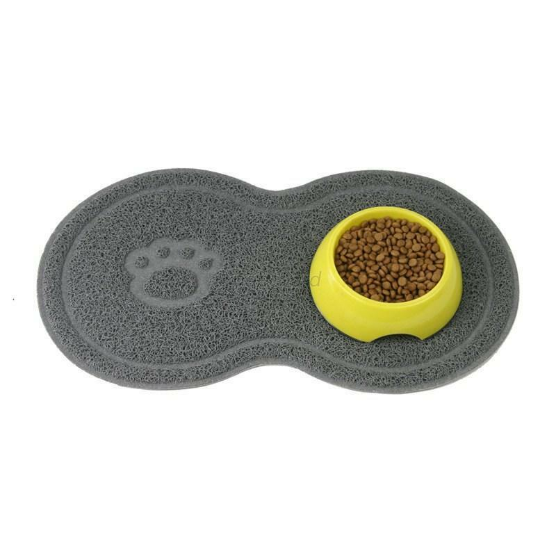 Grey 8 Shaped PVC Cat Dog Mat Non-Slip Pet Food Water Bowl Feeding Placemat