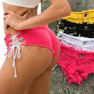 Women Colorful Denim Sexy Low Waist Ripped Hole Shorts Mini Jeans Pant Club-wear