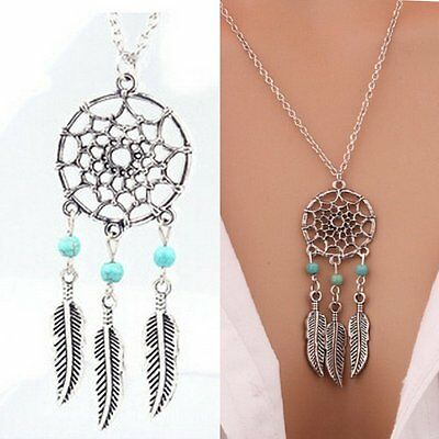 Women Boho Vintage Silver Feather Kallaite Pendant Necklace Jewelry Long Chain