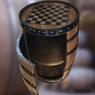 Natural Wooden Whisky Barrel Drinks Cabinet with Chess Board Table Top