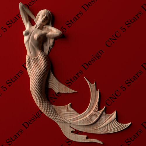 Mermaid  2 carved in wood