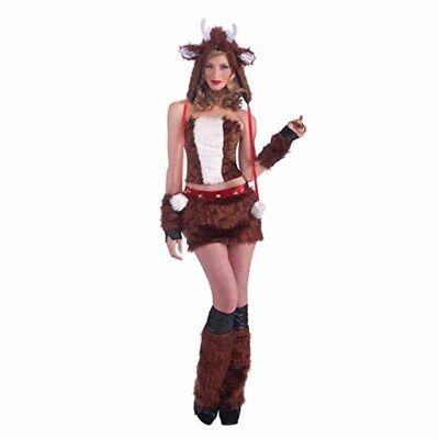 Rentier Sexy Pelzig Tier Reh Erwachsene Weihnachten Party Kostüm Damen XS - Sexy Rentier Kostüm