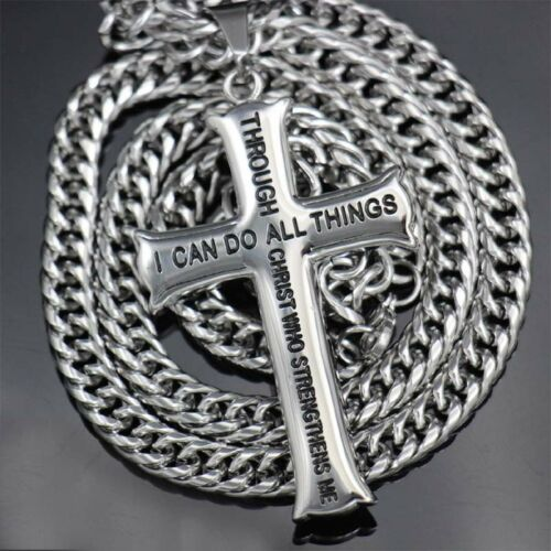 """24"""" Stainless Steel Cross Pendant Silver Tone Figaro NK Chain Necklace For Men"""