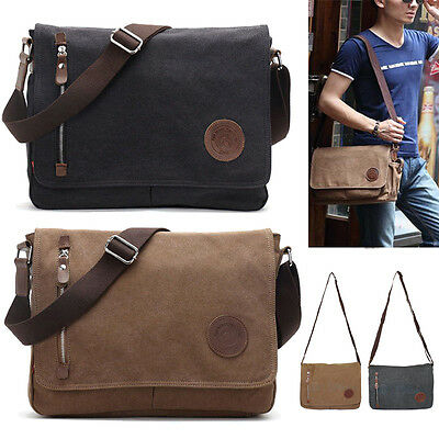 Men's Vintage Canvas Schoolbag Satchel Shoulder Messenger Bag Laptop Book Bags