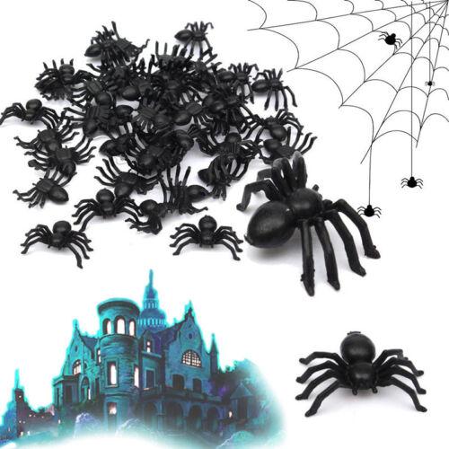 50pcs Plastic Black Simulation Small Spiders Halloween Trick Toy Prop Decor