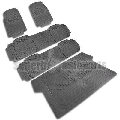 Envoy Custom Floor Mats Rear - 5PC Front+Rear+Cargo Liner Semi Custom Heavy Duty Rubber Floor Mats Carpet Gray