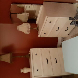 2 beautiful solid wood antique dressers & lamps