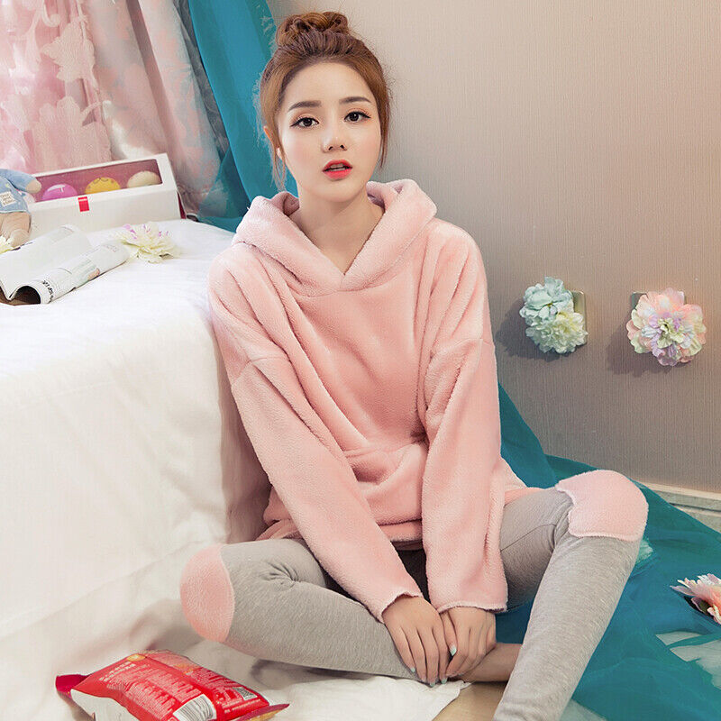 Women/'s Soft Warm Coral Fleece 2 Piece PJ Set Nightwear Sizes 8 to 22 Pink