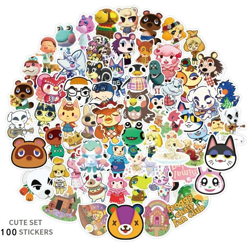 100PCS Animal Crossing DIY Motorcycle Luggage Skateboard Decal Stickers Toy Gift