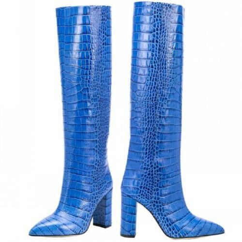 Details zu Damen Kniehoch Stiefel Gothic Cocktail 60s 70s Hippie GoGo Boots Xmas Gift Punk