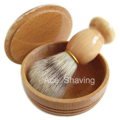 Defect Paint Wood Bowl Soap Container Cup Mug &Lid Boar Hair Shaving Beard Brush