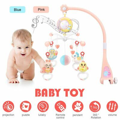 Mini Baby Musical Crib Toy With Projection Night Light Hanging Rotating Teether