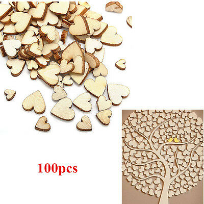100x Wooden Love Heart Shape Small Wood Piece Wedding Table Scatter Decor Mix US