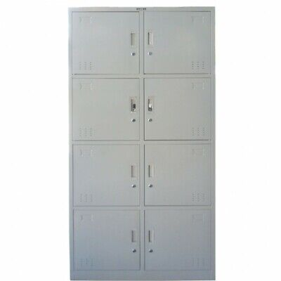 Locker Cabinet 8 Compartments Storage Gym Metal School Cupboard