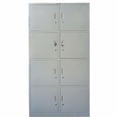 Locker Cabinet 8 Compartments Storage Gym Metal School Cupboard