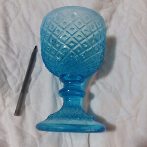 Fenton-Blue-Opalescent-Glass-DIAMOND-LACE CHALICE Goblet Footed