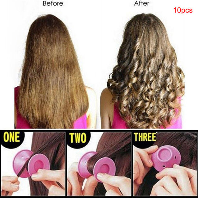 10pcs Beauty Women Roll Hair Maker Curlers Roller Soft Silicone DIY Cosmetic SR