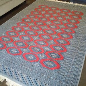 Hand Made Bukhara Area Rug: silk to the touch: like new: $500