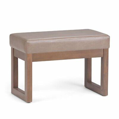 Milltown 27 inch Wide Contemporary Footstool Ottoman Bench in Ash Blonde Faux...
