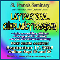 Train to be a wedding officiant! Become a chaplain. Sept 17