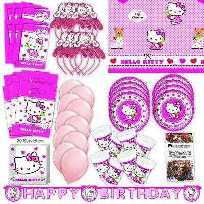 Hello Kitty Party Set XL 75-teilig für 6 Gäste Kittyparty Geburtstag Deko ()