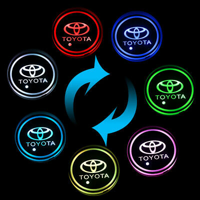 2PCS LED Car Cup Holder Pad Mat For TOYOTA Auto Atmosphere Lights -