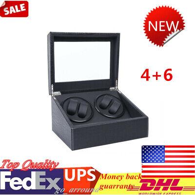 4+6 Crocodile Pattern Display Case Box Automatic Watch Winder Storage 2 Motor US