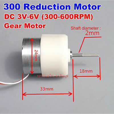 Micro 300 Gear Reduction Motor Dc 3v 5v 6v 600rpm Mini Metal Gearbox For Diy Toy