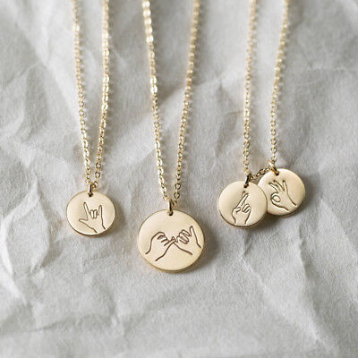 Engraved Sign Language Swear Ok Hand Gesture Pendant Necklace Friendship Jewelry