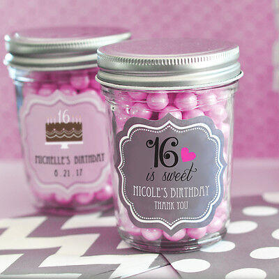 16 Candy Jars - 50 Personalized Mini Mason Candy Jar Quinceanera Sweet 15 or 16 Party Favor