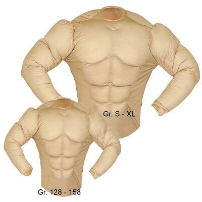 SUPER MUSKEL SHIRT Kostüm Muskelprotz Herren und Jungen Muskeln NEU 128 - - Herren Muskelprotz Kostüm