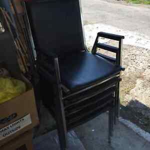 SELLING 5 BLACK STACKING CHAIRS